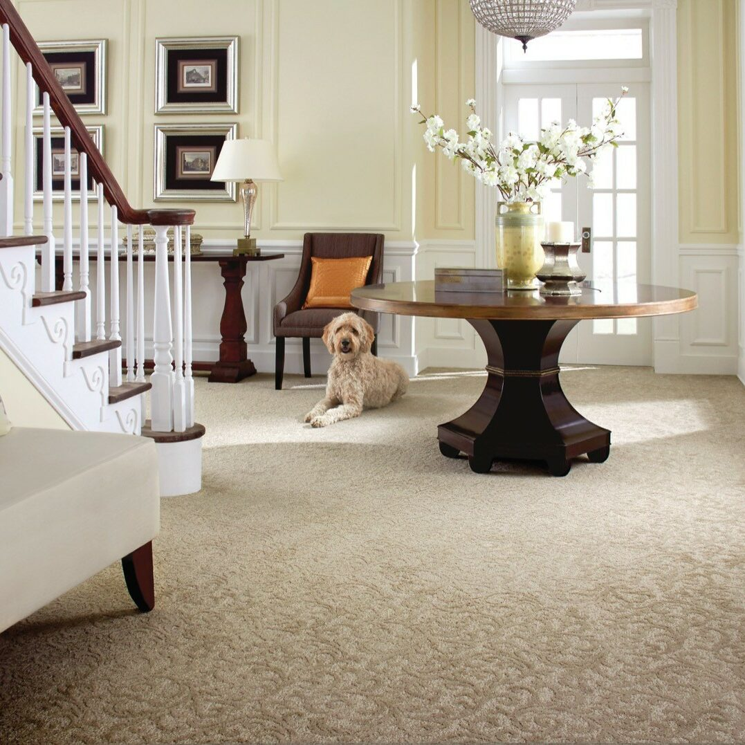 Dog laying down by round table and staircase | The Flooring Place